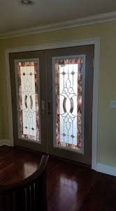 custom door glass insert with stained glass texture changes design elegante