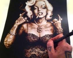 tattooed marilyn monroe art marilyn monroe pinup tattooed pinup gangster tattoo art alternative art poster print on marilyn monroe tattoo wall art with tattooed marilyn monroe compact mirror pocket mirror marilyn