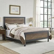 industrial bedroom furniture. Queen Size Industrial Wood And Metal Bed - Rustic Oak Bedroom Furniture I