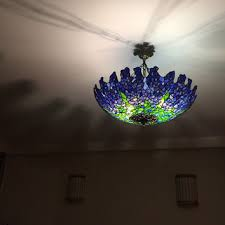 tiffany wisteria plafond ceiling lamp stained glass handmade shade glass lightning vintage style