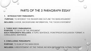 the formal essay eng di parts of the paragraph essay  parts of the 5 paragraph essay 1 introductory paragraph purpose to interest the