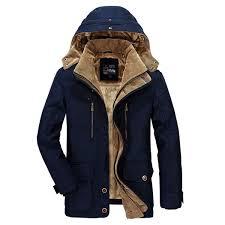 afsjeep mens thick fleece winter coat hooded outdoor solid color jacket