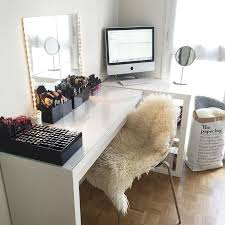 Love combining the desk and vanity. utilizing the window for natural light.
