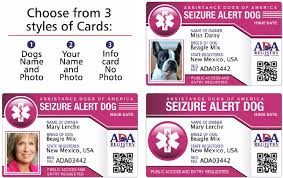 Alert Id Seizure Service Dog Card Outfitters response -
