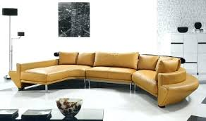 curved leather sectional sofa yellow modern set with stainless bonded