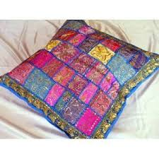 Image Moroccan Ethnic Indian Sari Lounge Bead Decorative Floor Pillow Popscreen Ethnic Indian Home Decor Beaded Sari Pillows Cushions On Popscreen