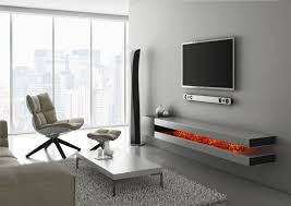 Under Wall Mounted TV Shelves Made Of Wooden In Gray Finished With Electric  Fireplace, Adorable