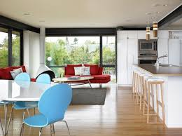 contemporary open kitchen. Scandinavian furniture is modern and ...
