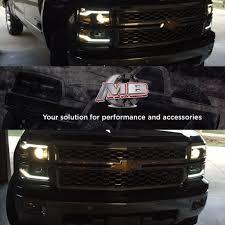 14-15 Chevy Silverado Matte Black LED DRL Projector Headlights ...