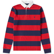 polo ralph lauren stripe rugby shirt french navy red end