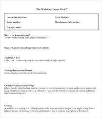 Sample Lesson Plans Format Sample Madeline Hunter Lesson Plan 11 Documents In Pdf Word