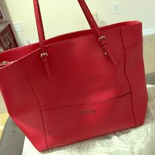 guess handbags guess large red leather bag