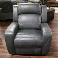 livorno grey leather power recliner