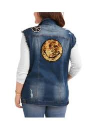 Product Image Juniors\u0027 Plus Size Reverse Sequin Denim Vest Juniors Coats \u0026 Jackets - Walmart.com