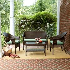 jaclyn smith reece 4 piece brown wicker seating with green regard to kmart outdoor furniture plans