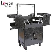 Beauty Station With Lights Hot Item Glitter Rolling Beauty Cosmetic Case Mobile Makeup Station With Lights