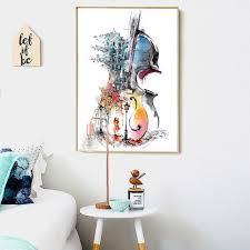 Canvas Print Guitar <b>Abstract</b> Still Life Wall Picture -<b>For Living Room</b> ...