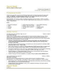 Media Specialist Sample Resume resume Advertising Sales Resume Social Media Specialist Sample 1