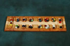 Marble Game With Wooden Board Mancala Board Game Marbleboardgames 1