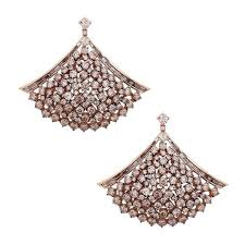 unique champagne color diamond gold chandelier earrings for