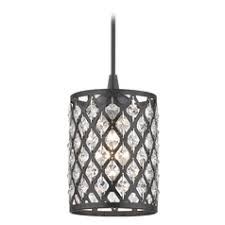 crystal pendant lighting. Crystal Matte Black \u0026 Phoenix Cord Hung Mini-Pendant Light Pendant Lighting R