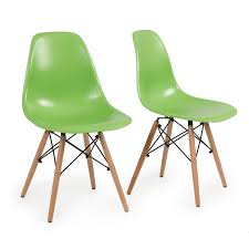 set of  green plastic molded side dining chairs modern seats