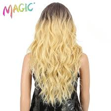 <b>MAGIC Hair Medium Length</b> 24 Inch Wave Synthetic Wigs For Black ...