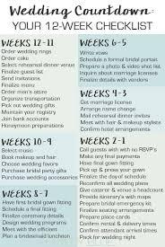 Checklist For Wedding Day Wedding Countdown Your 12 Week Checklist Member Board Bride