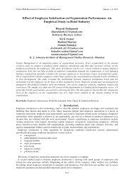 Hotel Rashmi Effect Of Employee Satisfaction On Organization Performance An