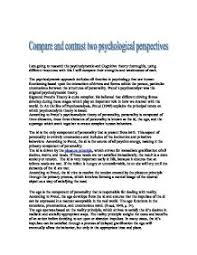 compare and contrast two psychological perspectives i am going to  page 1