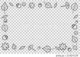 秋 紅葉 フレーム モノクロ 黒のイラスト素材 31424129 Pixta