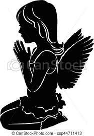 かわいい わずかしか シルエット 天使 女の子 祈ること