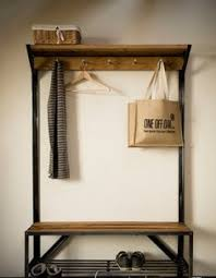 Metal Entryway Bench With Coat Rack Industrial Pipe And Wood Entry Coat Rack Bench Entrance Bench 3