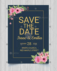 Save The Date Designs Save The Date Invitation Card Design Wedding Template Vector With Flowers Uxoui