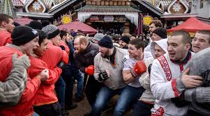 uk tabloid distorts traditional russian pancake festival into  participants in a wall to wall fist fighting during maslenitsa celebrations in the kremlin in izmailovo russian culture center moscow