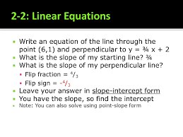 2 2 linear equations write an equation of the line through the point
