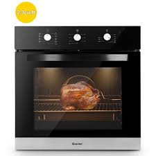 costway 24 electric built in single wall oven 220v tempered glass push ons