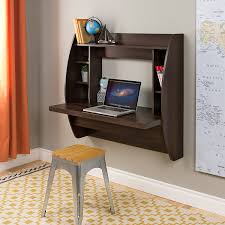 com prepac wall mounted floating desk with storage in espresso kitchen dining