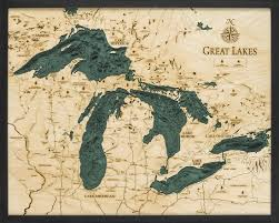 Great Lakes Wood Carved Topographical Depth Chart Map