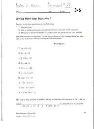 ultimate algebra 1 lesson 3 2 solving multi step equations in best practice two step