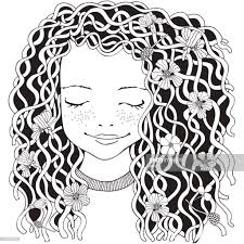 Cute Girl Coloring Book Stock Illustration Getty Images