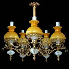 art deco antique french victorian limoges porcelain bronze yellow glass shades chandelier for