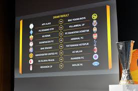 Manchester united will meet ac milan in the europa league round of 16, while arsenal again face olympiakos. Yf5w Xkey0zn M