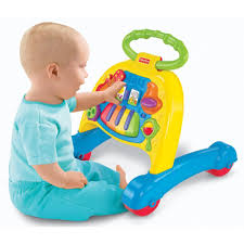 to be honest i like this toy best for what it offers the pre walking baby as long as you prop the toy against a reliable surface so it doesn t roll away
