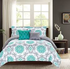 bedroom turquoise and grey bedding white modern set brown uphostered leather headboard paisley pattern wallpaper pink