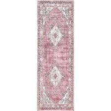 vintage debra medallion fringe pink 2 ft 6 in x 8