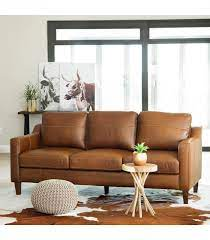 goldman leather couch light brown