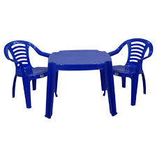 blue table 3 chairs childrens kids plastic table and chairs nursery sets outdoor tea set by marko toys for kitchen in new zealand