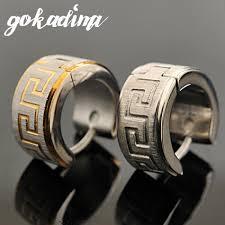gokadima greek key snless steel earrings punk rock stud earrings men 2016 fashion jewelry whole we007