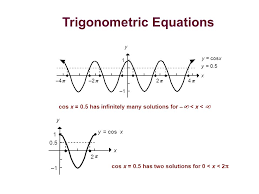 0 5 has infinitely many solutions for x y cosx x y 1 1 0 5 2 cos x 0 5 has two solutions for 0 x 2 trigonometric equations